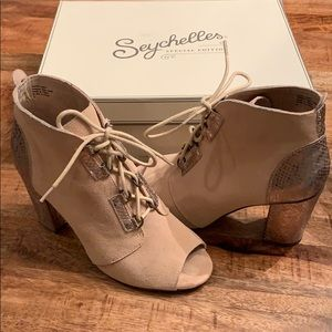 Seychelles lace up open toe booties